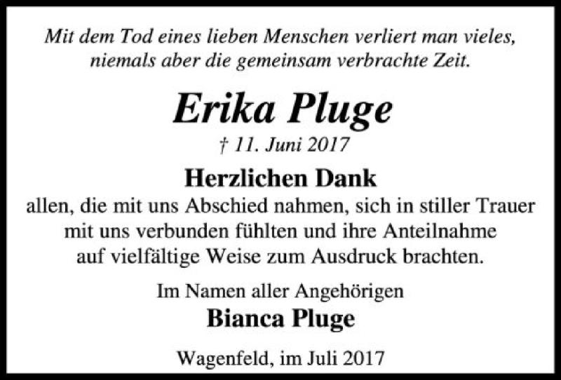 Traueranzeige für Erika Pluge vom 08.07.2017 aus SYK