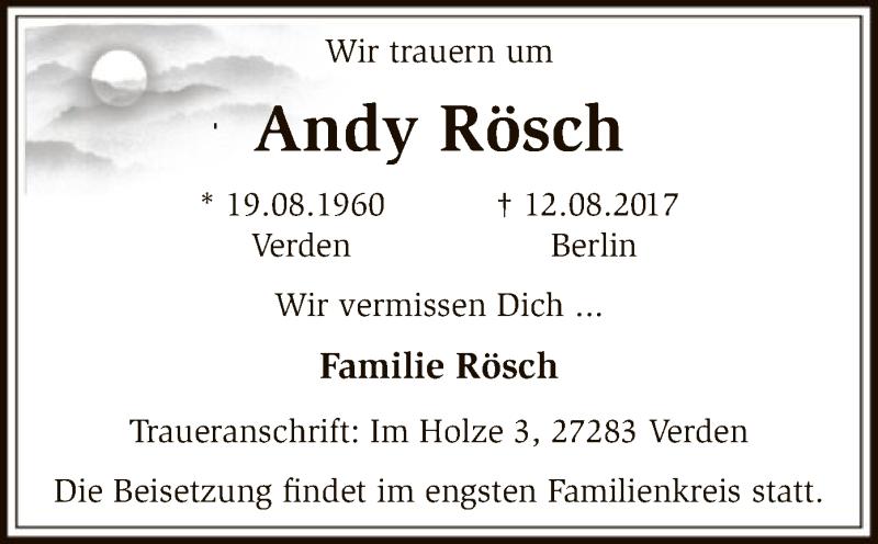 Traueranzeige für Andy Rösch vom 15.08.2017 aus SYK