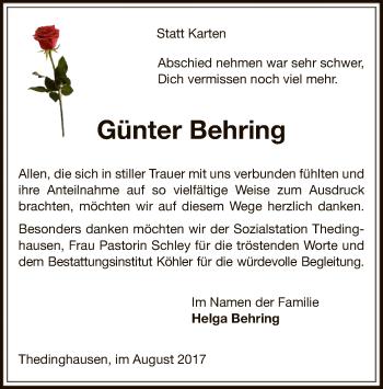 Traueranzeige für Günter Behring vom 26.08.2017 aus SYK