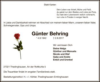Traueranzeige für Günter Behring vom 05.08.2017 aus SYK