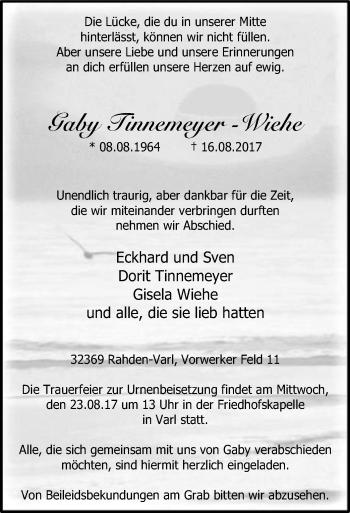 Traueranzeige von Gaby Tinnemeyer-Wiehe von SYK