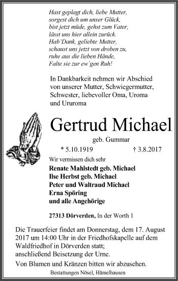 Traueranzeige von Gertrud Michael von SYK