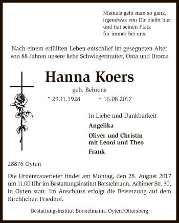 Traueranzeige von Hanna Koers von SYK