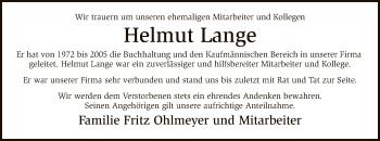 Traueranzeige von Helmut Lange von SYK