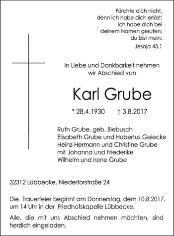 Traueranzeige von Karl Grube von SYK
