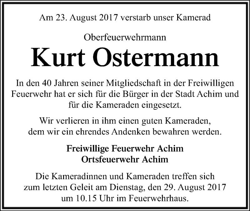 Traueranzeige für Kurt Ostermann vom 28.08.2017 aus SYK