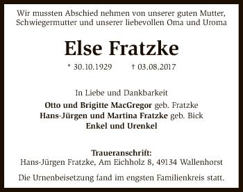 Traueranzeige von Else Fratzke von SYK