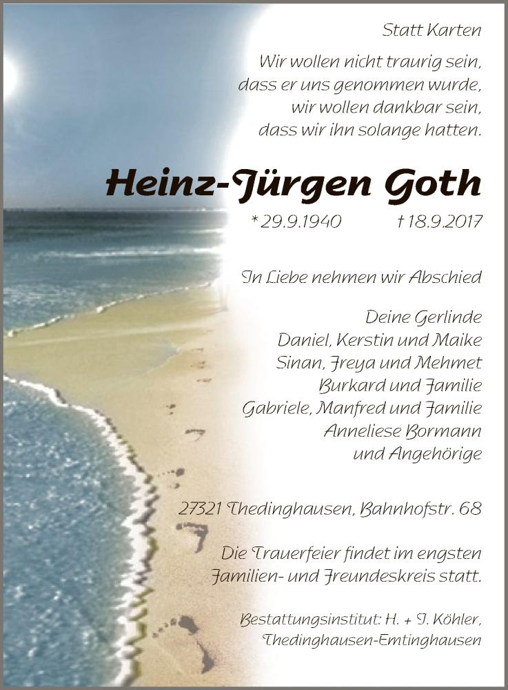 Traueranzeige für Heinz-Jürgen Goth vom 23.09.2017 aus SYK