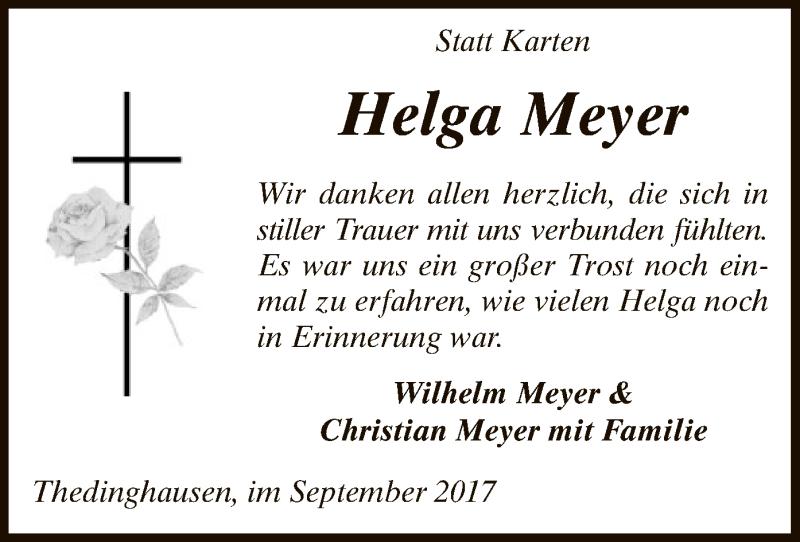 Traueranzeige für Helga Meyer vom 09.09.2017 aus SYK