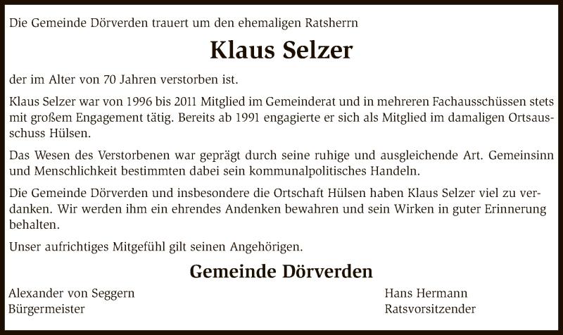 Anzeige von  Klaus Selzer
