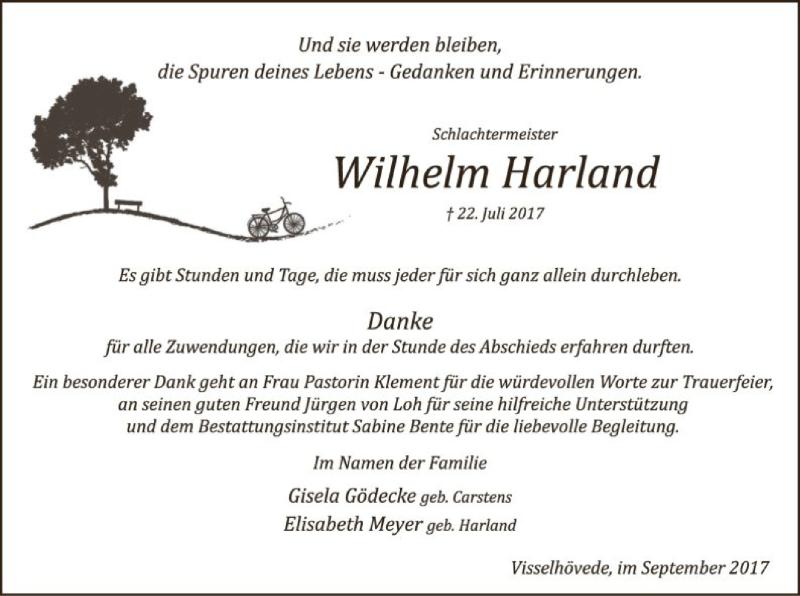 Traueranzeige für Wilhelm Harland vom 02.09.2017 aus SYK