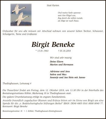 Traueranzeige für Birgit Beneke vom 09.10.2018 aus SYK