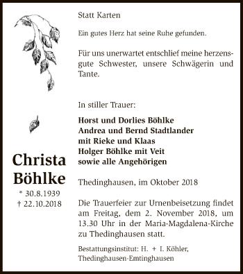 Traueranzeige für Christa Böhlke vom 30.10.2018 aus SYK