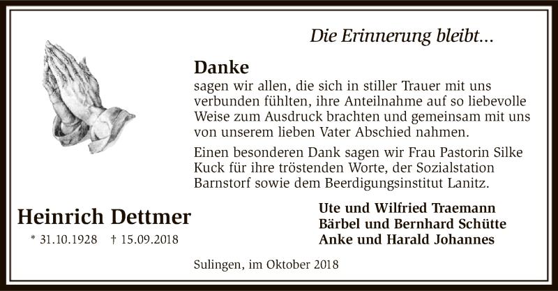 Traueranzeige für Heinrich Dettmer vom 27.10.2018 aus SYK