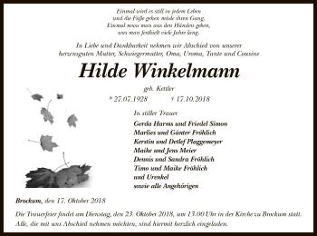Traueranzeige von Hilde Winkelmann von SYK