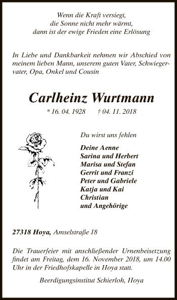 Traueranzeige für Carlheinz Wurtmann vom 08.11.2018 aus SYK