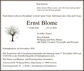 Traueranzeige für Ernst Blome vom 14.11.2018 aus SYK