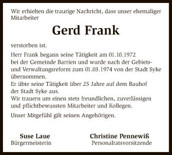 Traueranzeige für Gerd Frank vom 08.11.2018 aus SYK