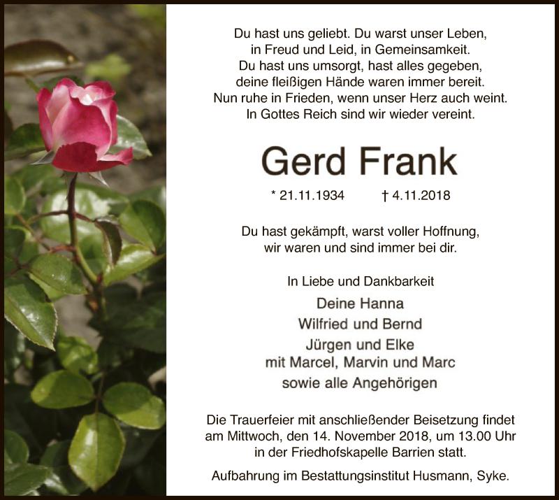 Traueranzeige für Gerd Frank vom 07.11.2018 aus SYK