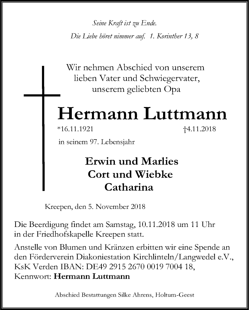 Traueranzeige für Hermann Luttmann vom 06.11.2018 aus SYK