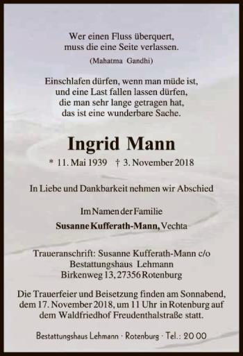 Traueranzeige für Ingrid Mann vom 07.11.2018 aus SYK