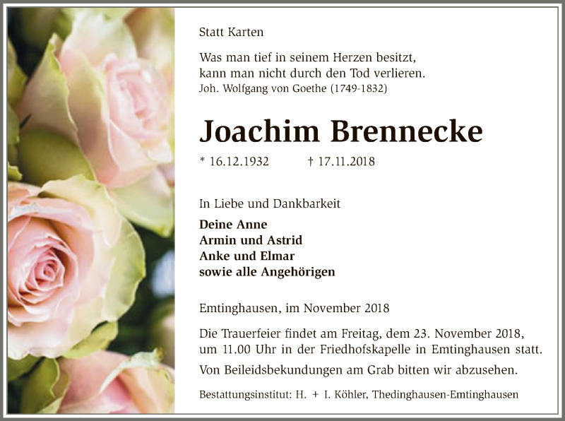 Traueranzeige für Joachim Brennecke vom 20.11.2018 aus SYK