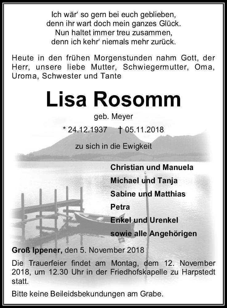 Traueranzeige für Lisa Rosomm vom 07.11.2018 aus SYK