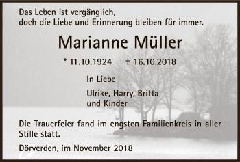 Traueranzeige für Marianne Müller vom 08.11.2018 aus SYK