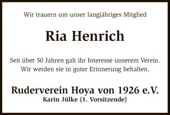 Traueranzeige für Ria Henrich vom 09.11.2018 aus SYK