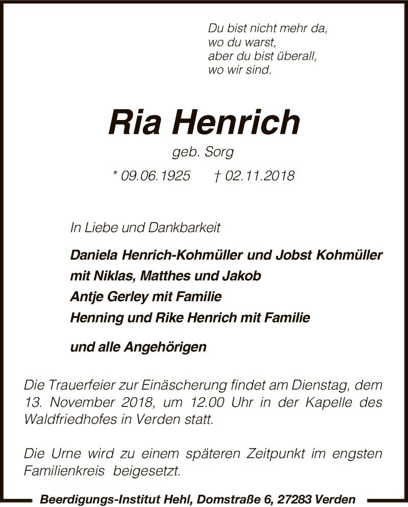 Traueranzeige für Ria Henrich vom 07.11.2018 aus SYK