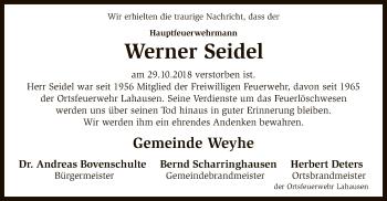 Traueranzeige für Werner Seidel vom 08.11.2018 aus SYK