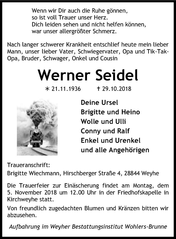 Traueranzeige für Werner Seidel vom 02.11.2018 aus SYK