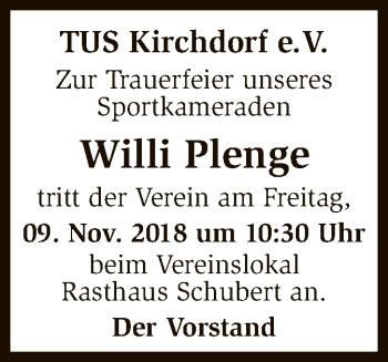 Traueranzeige für Willi Plenge vom 08.11.2018 aus SYK