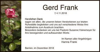 Traueranzeige für Gerd Frank vom 01.12.2018 aus SYK