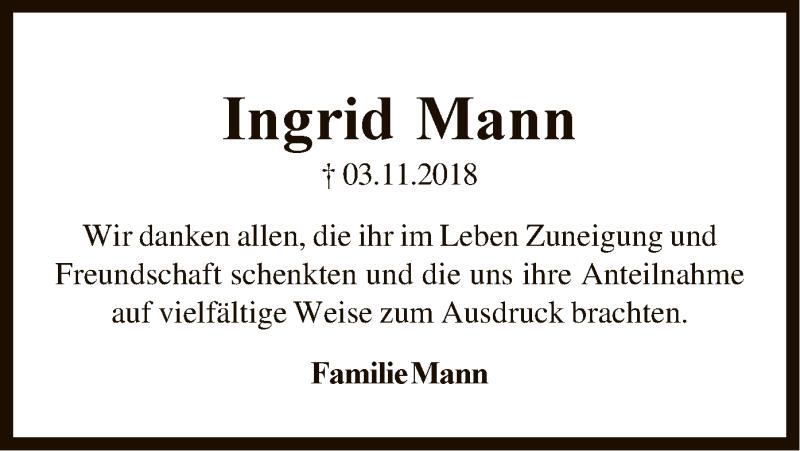 Traueranzeige für Ingrid Mann vom 15.12.2018 aus SYK