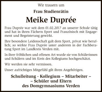 Traueranzeige für Meike Duprée vom 22.12.2018 aus SYK
