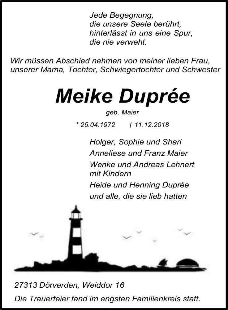 Traueranzeige für Meike Duprée vom 21.12.2018 aus SYK