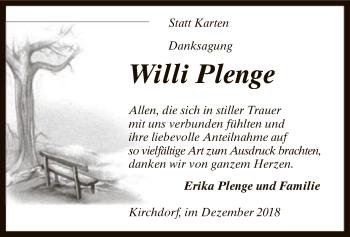 Traueranzeige für Willi Plenge vom 07.12.2018 aus SYK