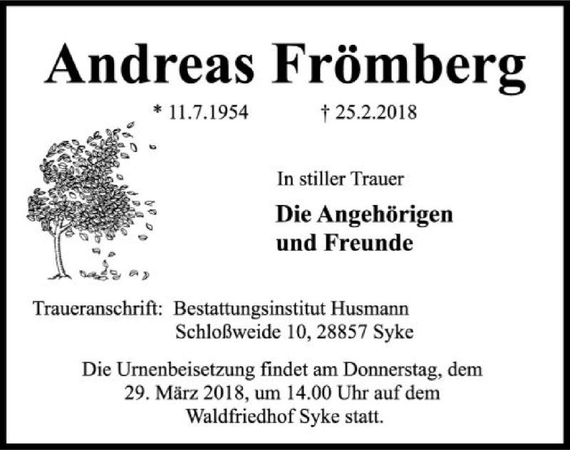 Traueranzeige für Andreas Frömberg vom 23.03.2018 aus SYK