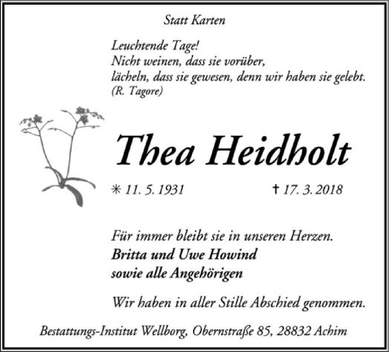 Traueranzeige für Thea Heidholt vom 31.03.2018 aus SYK
