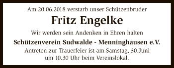 Traueranzeige für Fritz Engelke vom 28.06.2018 aus SYK