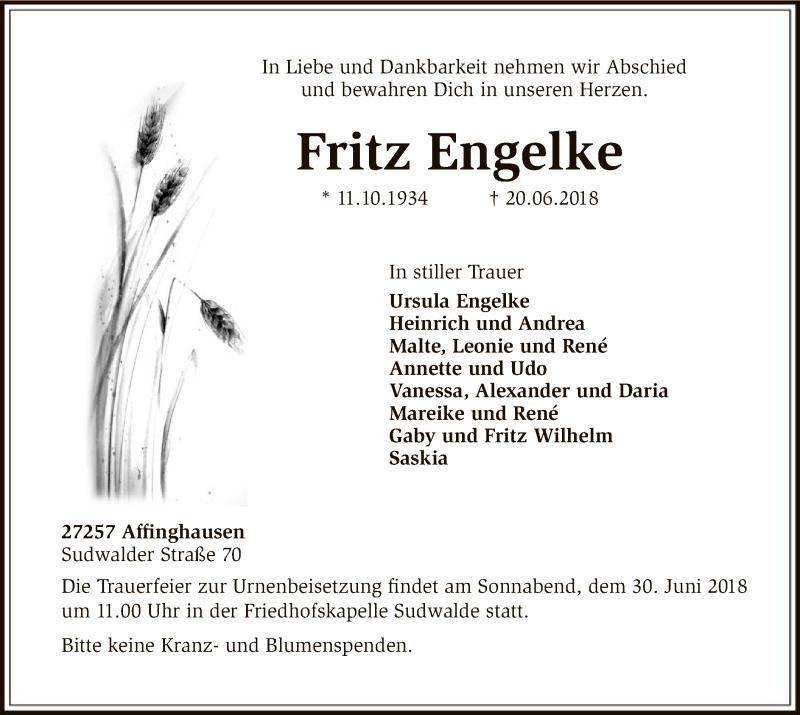 Traueranzeige für Fritz Engelke vom 23.06.2018 aus SYK