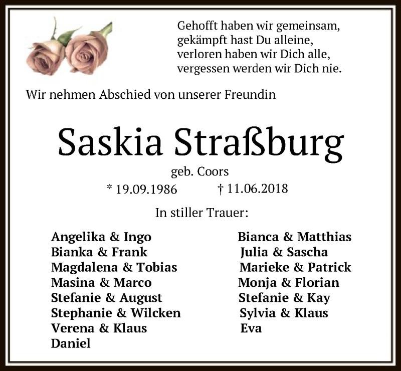 Traueranzeige für Saskia Coors vom 15.06.2018 aus SYK