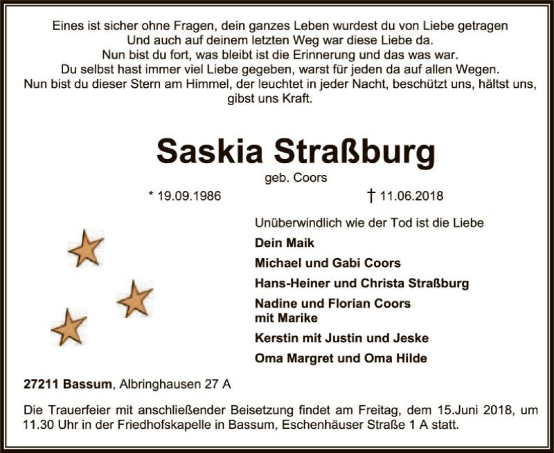 Traueranzeige für Saskia Coors vom 13.06.2018 aus SYK