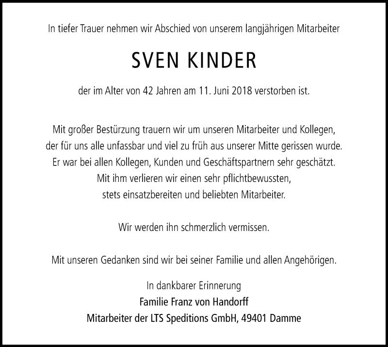 Traueranzeige für Sven Kinder vom 16.06.2018 aus SYK