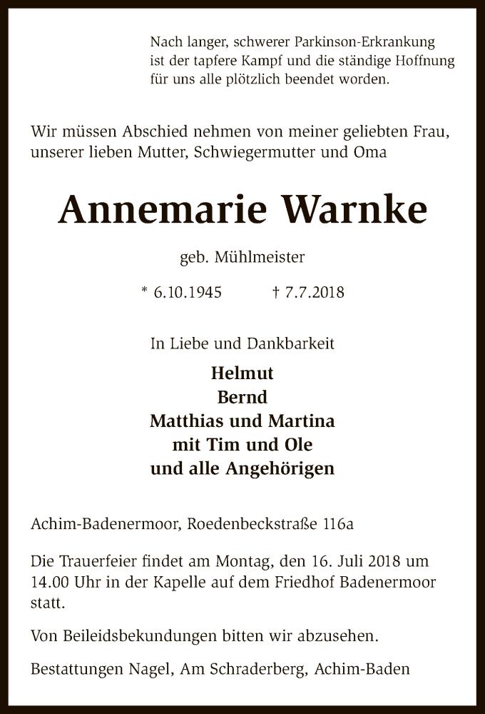 Traueranzeige für Annemarie Warnke vom 11.07.2018 aus SYK