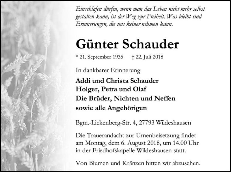 Traueranzeige für Günter Schauder vom 28.07.2018 aus SYK