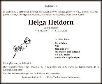 Traueranzeige für Helga Heidorn vom 10.07.2018 aus SYK