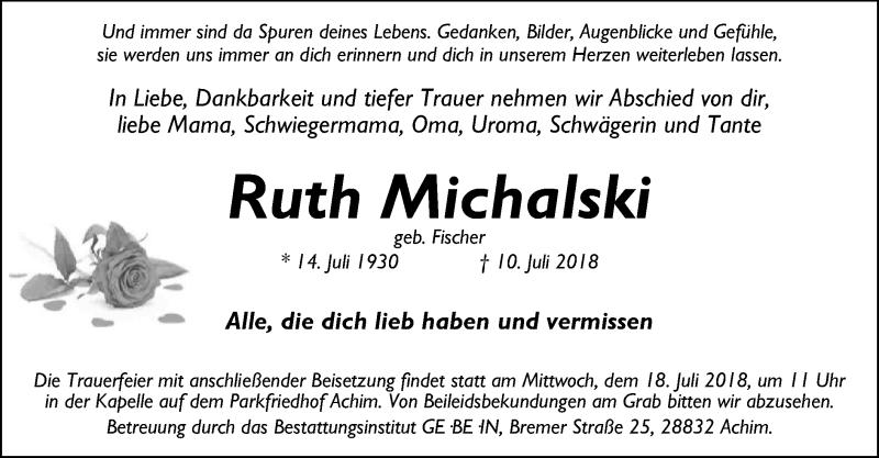 Traueranzeige für Ruth Michalski vom 14.07.2018 aus SYK