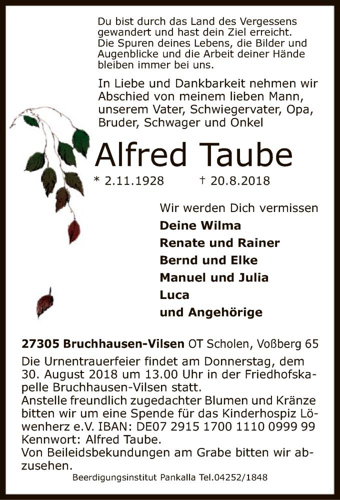 Traueranzeige für Alfred Taube vom 22.08.2018 aus SYK